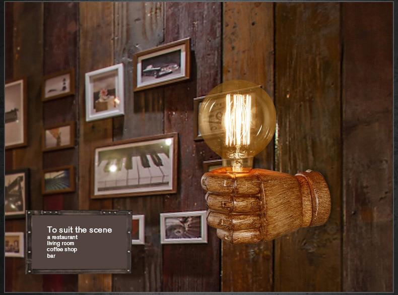 ФОТО Creative Fist Shape Wall Lamp 110V/220V E27 Socket Resin Material Wooden Appearance Bedside/Stair/Corridor Lamp Antique