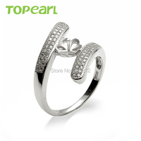 9RM35 Topearl Jewelry 5pcs LOT Shiny Cubic Zirconia Adorned 925 Sterling Silver Findings Pearl Ring Mount