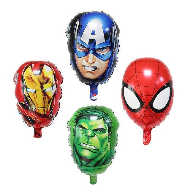 Sorte 8 pçs/lote The Avengers Iron Man & Heros Capitão América & Hulk & Spiderman Balões Foil Festa De Balão de Ar decoração Crianças Brinquedos