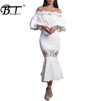 Beateen 2018 White Mermaid Cocktail Floral Dresses Off the Shoulder Long Sleeve Autumn Party Sexy Club Dress