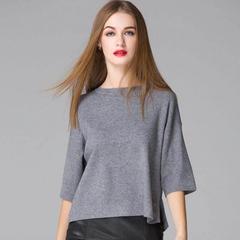 Měkký pletený svetr ženy na podzim nový korejský nadměrný poloviční rukáv O krk volný pletený svetr pletený úplet dámský spodek