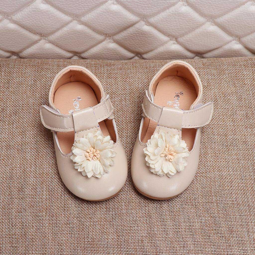 Toddler Infant Baby Girls Elegant Flower Single Princess Shoes Sandals Slippers