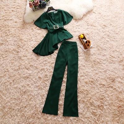 2018 summer new female sets women's V-neck short-sleeved irregular ruffled top + high waist micro flared pants suits