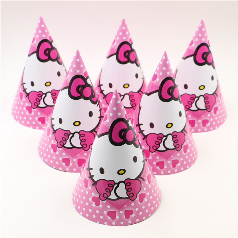 12pcs Lot Birthday Party Cap Hello Kitty Theme Decoration Childrens Hat Supplies Kit In Hats From Home Garden On