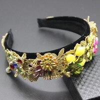 Nouveau baroque catwalk cristal ananas fleurs dentelle bande de cheveux large bord perle épingle à cheveux accessoires de mariage des femmes 359