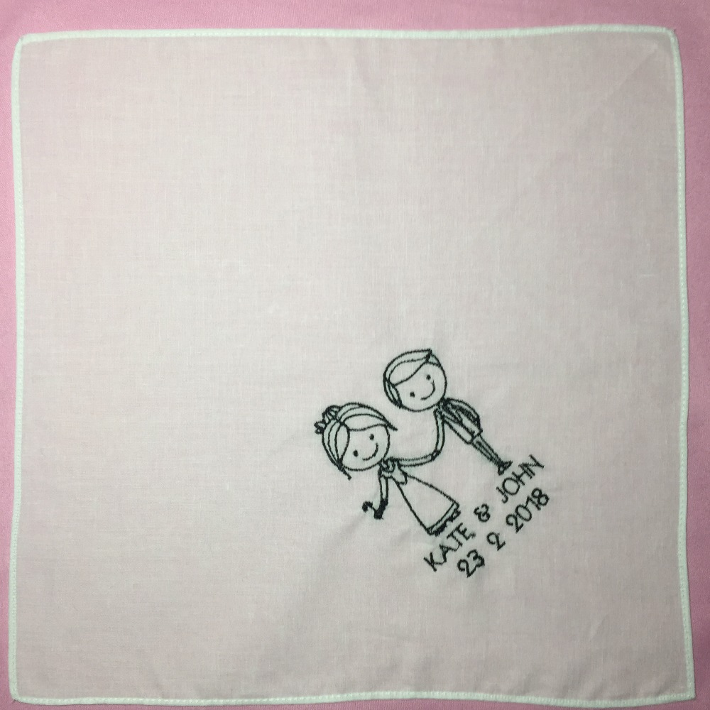 Custom Wedding Gift Embroidered Wedding Handkerchief Square White Pocket Handkerchief in Handkerchief Towels from Home Garden