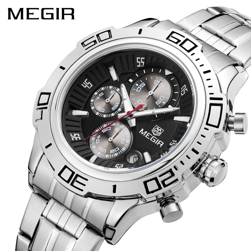 MEGIR Original Quartz Watch Business Stainless Steel Men Watches Multifunction Chronograph Calendar Wristwatch Relogio Masculino цены онлайн