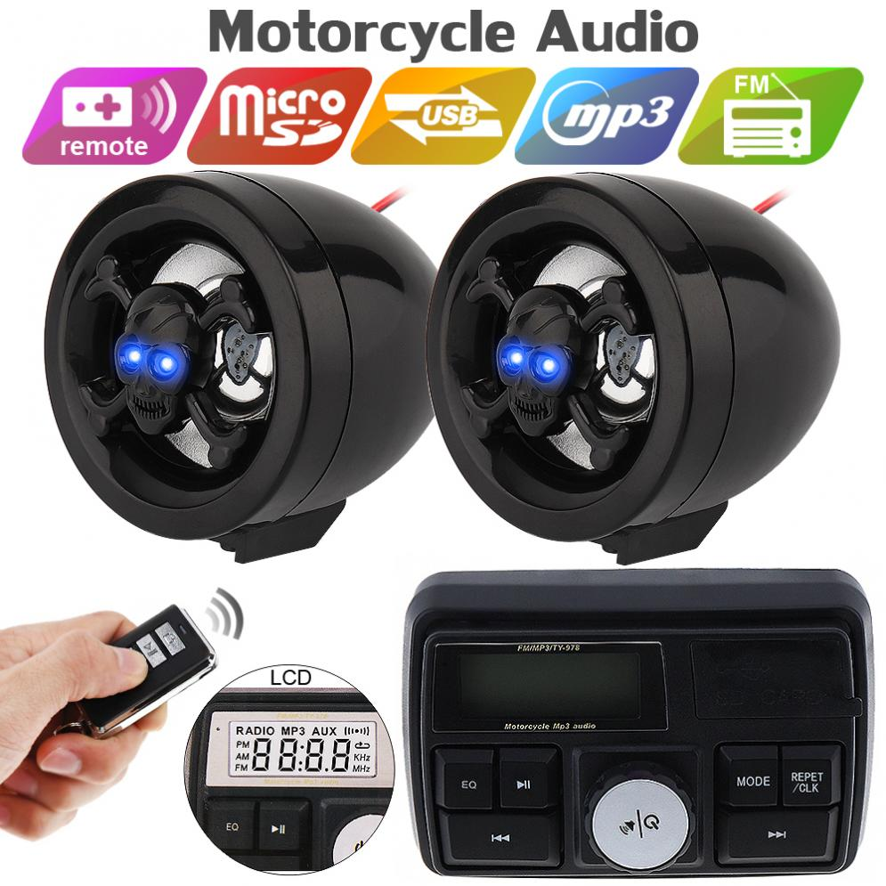 12V 10W Display Screen Waterproof Motorcycle Anti-theft Sound MP3 Player Motorbike Security Alarm System With Remote Control