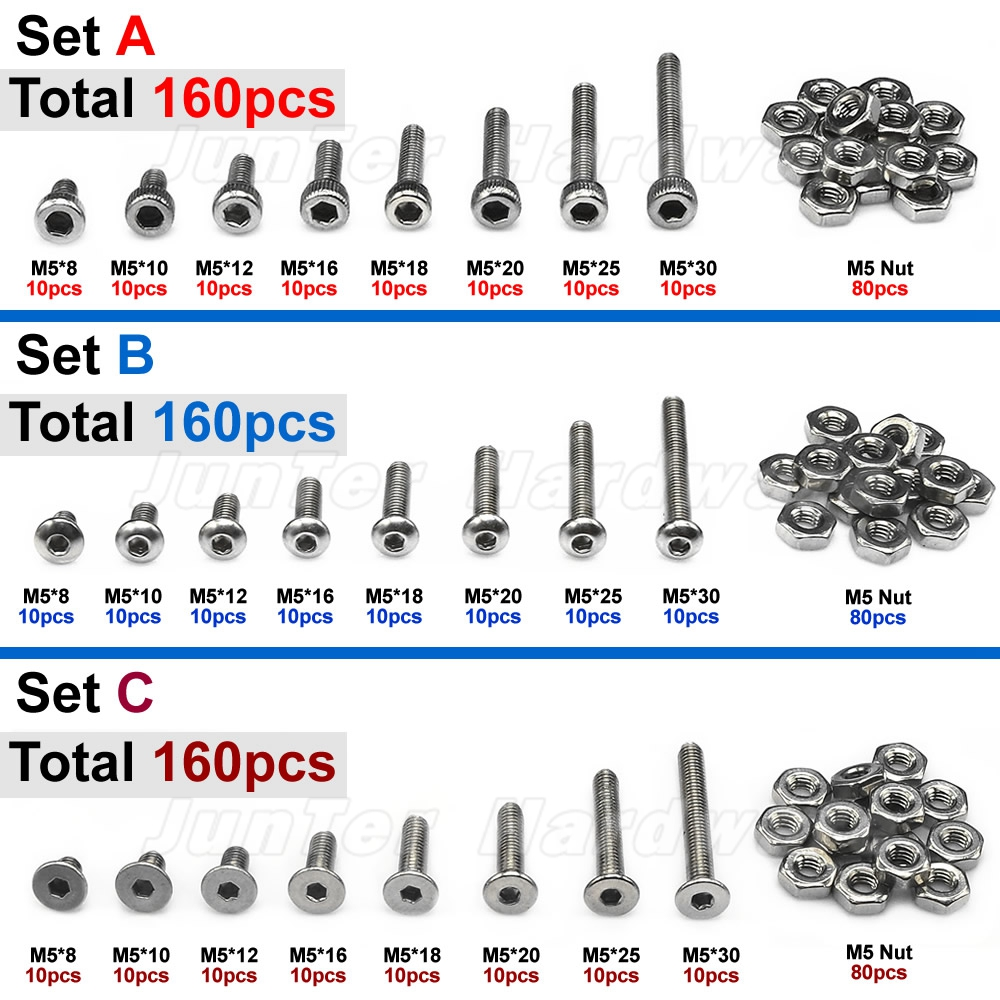 160pcs M5(5mm) A2 Stainless Steel Allen Bolts Hex Button Flat Socket Head Cap Screws With Nuts Assortment