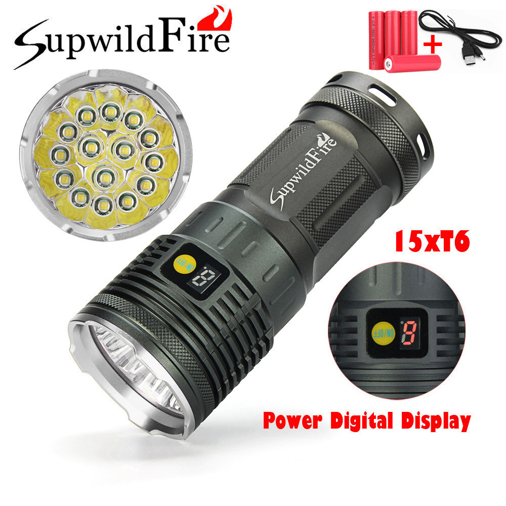 Bicycle Accessories Bike Flashlight Headlamp 50000LM 15 x XML T6 LED Power Mode Digital Display Hunting Flashlight+18650 Battery sitemap 15 xml