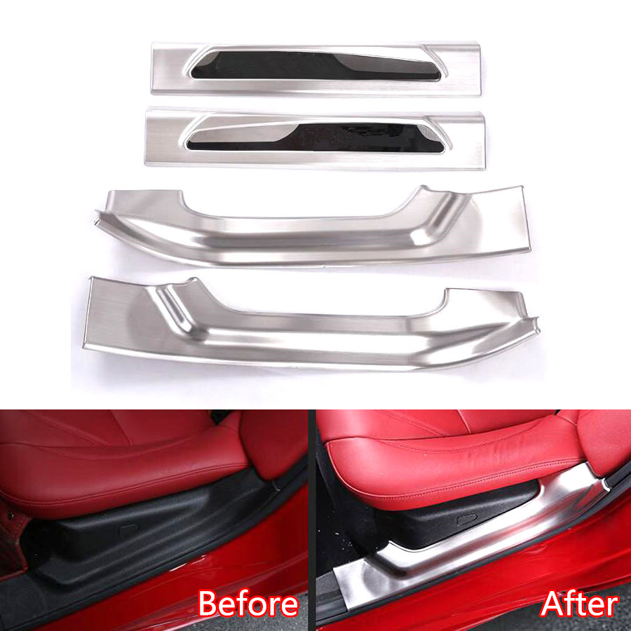 YAQUICKA Stainless Steel 4x Car Door Step Entry Guards Sill Scuff Plate Cover Trim Styling For Alfa Romeo Giulia Stelvio 2017
