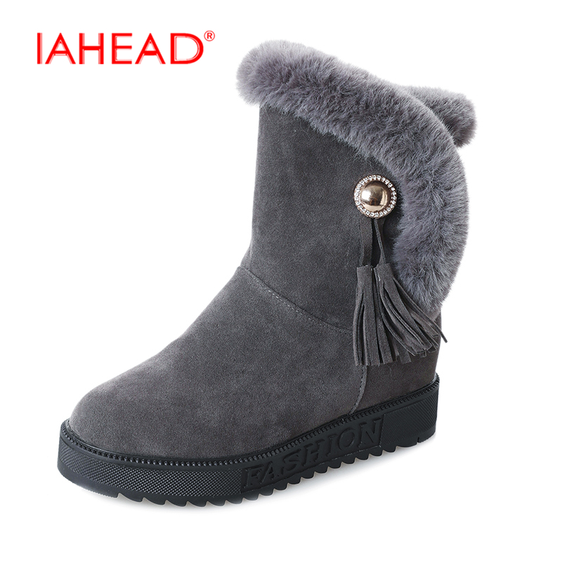 IAHEAD Shoes Women For Winter Snow Boots Slip On Ankle High Boots New Brand Warm Plush Flock Shoes UPA368