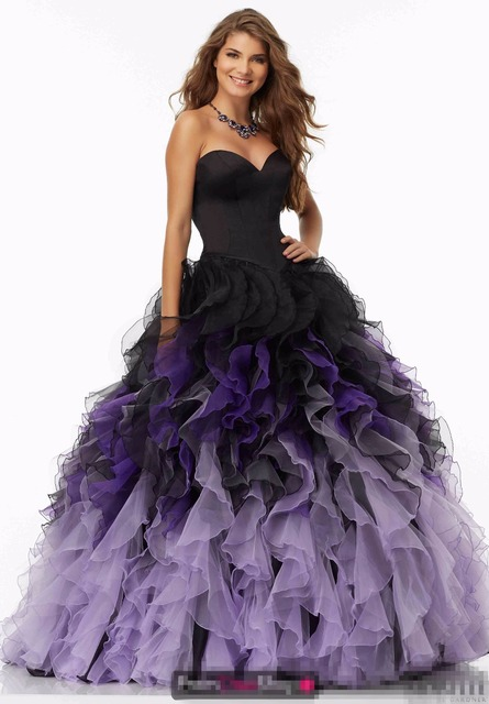 2019 Black Purple Ball Gown Prom Dresses Sweetheart Ruffles Organza Corset  Prom Gowsn Princess Puffy Party 148a69e16243