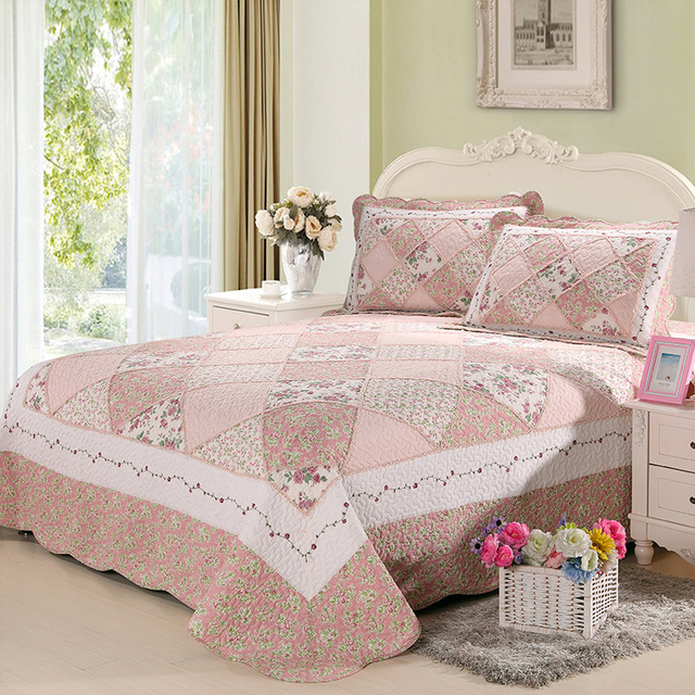 CHAUSUB Pink Quality Patchwork Quilt Set 3pcs Pastoral Cotton Quilts  Quilted Bedspread Sheets Pillowcase Coverlet King