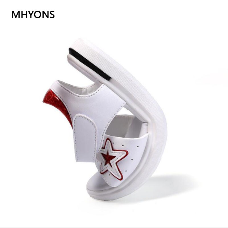 MHYONS 2018 Summer ChildrenS Sandals For Kids Girls Shoes Fashion Girl Fish Mouth Princess Shoes Kids Girls Bow Beach Sandals