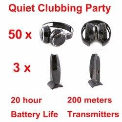 Тихая Дискотека полная система черные складные беспроводные наушники-тихие Клубные вечерние комплекты (50 наушников + 3 передатчика)