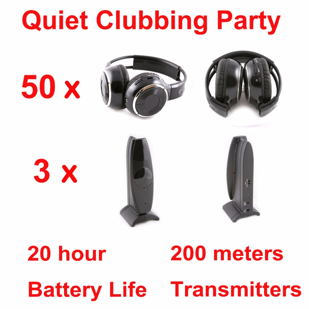 Silent Disco complete system black folding wireless headphones – Quiet Clubbing Party Bundle (50 Headphones + 3 Transmitters)