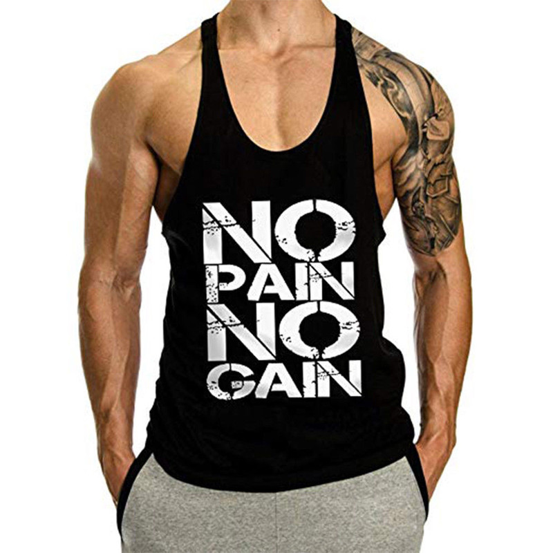 OA Men NO PAIN NO GAIN Bodybuilding Stringer Men Gyms Tank Top Fitness Singlet Cotton Sleeveless Shirt Muscle Vest