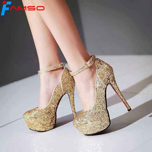 FAMSO Size34-43 2017 Women Pumps Female Single High Heels Wedding Shoes Gold  Silver glitter Autumn platforms Pumps PS1563 b2eb3aa060f3