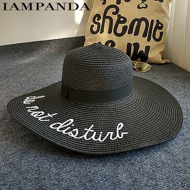 letter embroidery cap Big brim Ladies summer straw hat youth hats for women Shade sun hats Beach hat sale