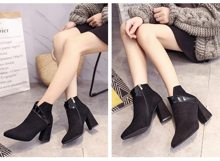High heels shoes women autumn winter sexy pointed toe ankle boots ladies retro chunky heels short boots botas mujer beige black 56