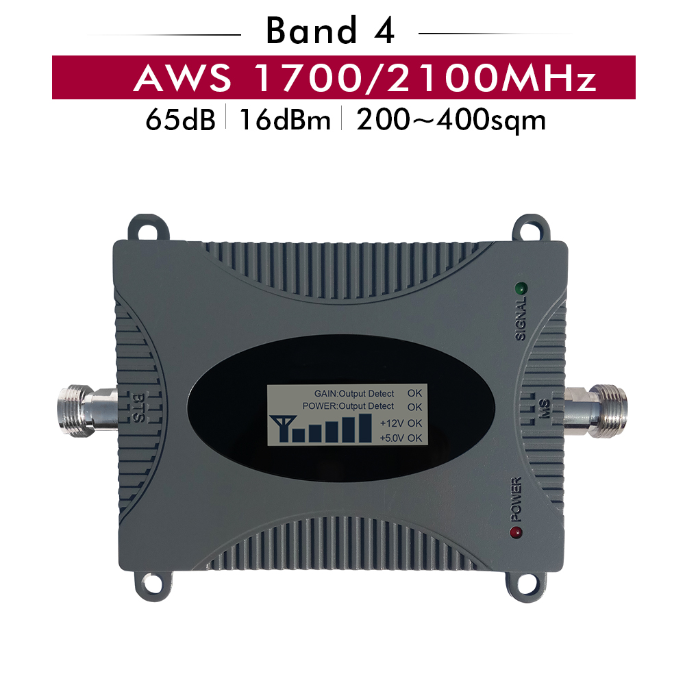 65dB Gain affichage LCD 4G AWS 1700/2100 mhz répéteur de Signal de téléphone portable LTE bande 4 AWS 1700/2100 amplificateur de Signal de Booster cellulaire