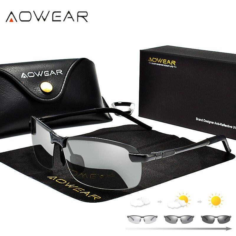 AOWEAR Conduite lunettes de Soleil Polarisées Photochromiques Hommes  Caméléon Lunettes Hommes lunettes de Soleil Pilote Lunettes oculos lentes de  sol hombre ... 93b14c8d85dc