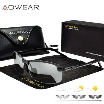 c9129d8839 Aowear conducción polarizadas fotocromáticas Gafas de sol hombres camaleón Gafas  hombres Gafas de sol Gafas para