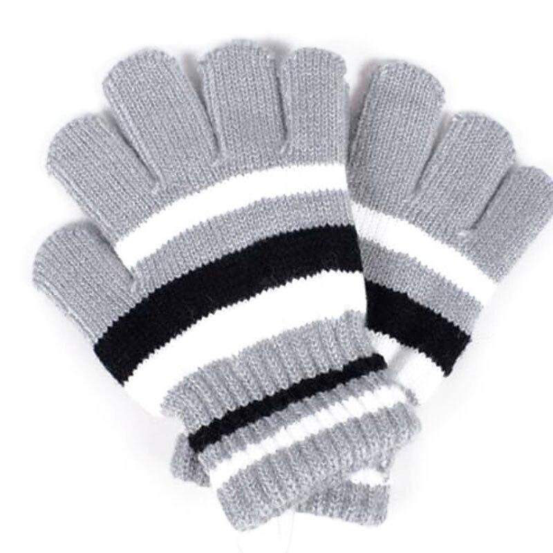 Unisex Men Women Thermal Knitted Stripe Plain Warm Full Finger Winter Gloves