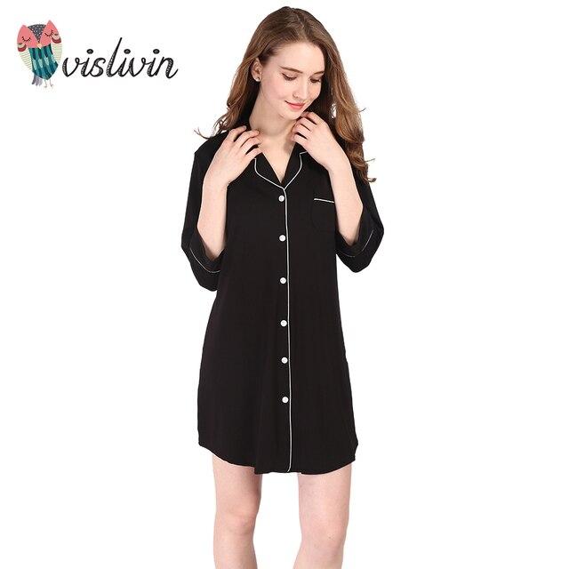 Vislivin  New Arrivals Modal Cotton Nightgowns Soft Home Dress Sexy Nightwear Women Sleepwear Solid Sleep Lounge