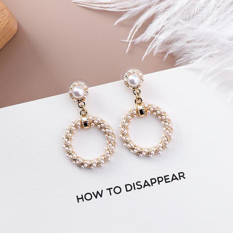 Elegant Pearl Leaf Drop Earrings for Women Girl Pod Geometric Pendant Earring