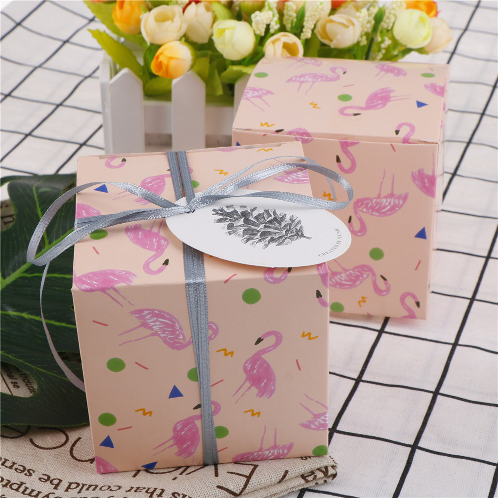 2pcs Flower Bird Flamingo Square Candy Box Gift Bag With String