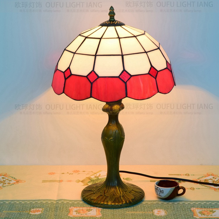 12inch Baroque Vintage Tiffany Table Lamp Country Style Stained