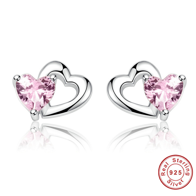 New Arrival 100 925 Sterling Silver Double Heart To Pink Cz Stud Earrings For