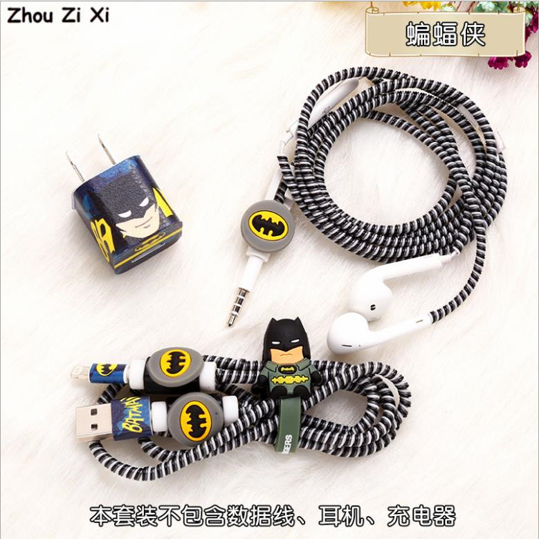 Marvel Avengers Captain America Shield Spider-Man Iron Man Batman Superman Charger Protection Cord Rope Headphone Winder