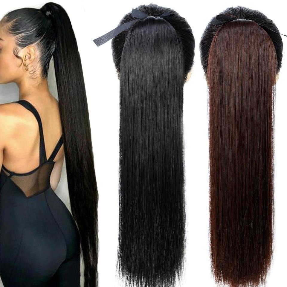 Extensões falsas resistentes ao calor do cabelo sintético da cauda do pônei grampo reto longo dos rabos de cavalo do cabelo de shangke 22 long clip