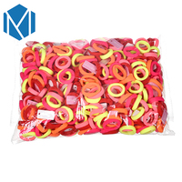 MISM 500pcs Bag 2017 Cute Rainbow Color Elastic Hair Bands Rubber Bands Hair Ropes For Girls