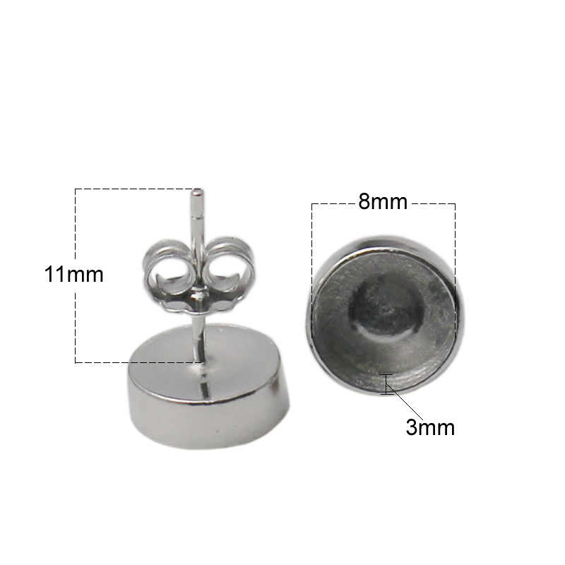 Beadsnice pós brinco descobertas 925 prata esterlina parafuso prisioneiro brinco com 8mm moldura redonda definir para fazer jóias id 34732
