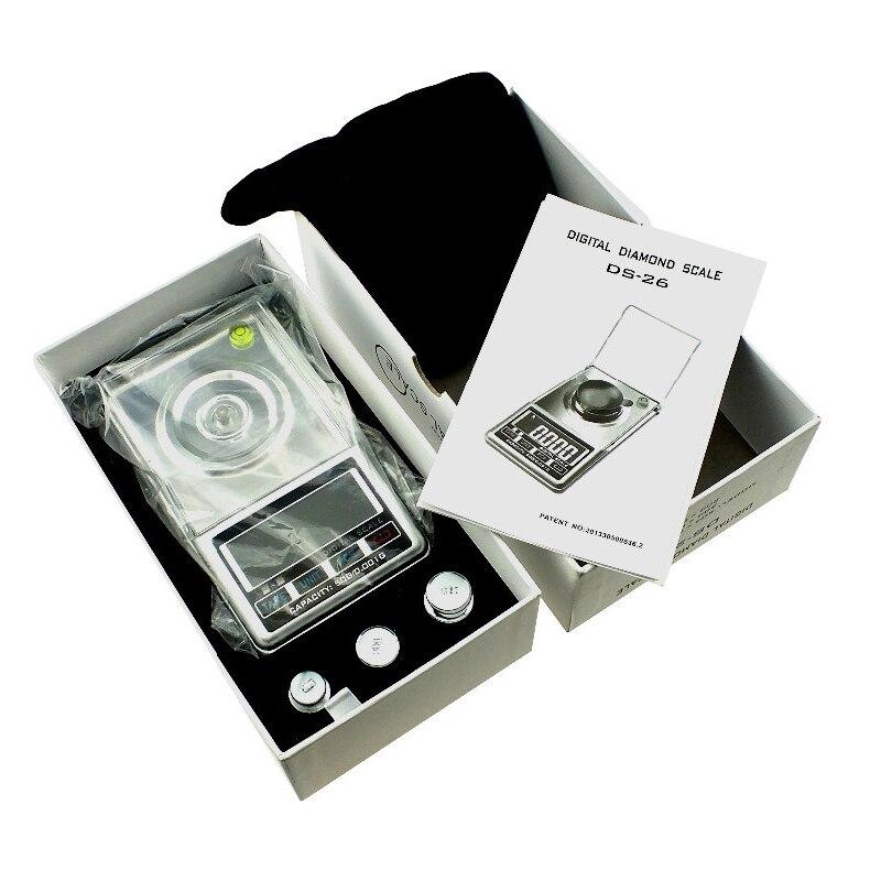 Mini haute précision 0.001g ~ 50g haute définition bijoux échelle qualité poche électronique numérique balance + boîte de détail - 2