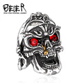 Beier new store 316L Stainless Steel ring top quality punk evil skull vintage men ring Fashion Jewelry BR8-244