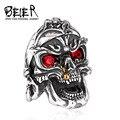 Beier nueva tienda de anillo de acero inoxidable 316l de calidad superior punk evil skull vintage hombres de joyería de moda anillo br8-244