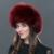 Couro Chapéu de Pele das mulheres Para O Inverno Com Bola de Pêlo de Raposa Naturais Pele Elástica Ajustável Ao Ar Livre Caps Proteção de Orelha Tampas WHL-01