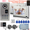 Home Security 7 Inch TFT LCD Monitor Video Door Phone Intercom System IP65 Waterproof Inductive Card