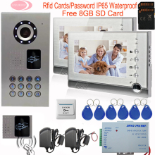 7inch Video Intercom With Recording Free 8GD SD Card IP65 Waterproof Camera Video Intercom Rfid Cards Home Video Door Phone Kit