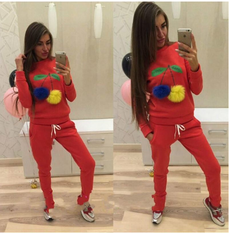 Cherry Cute Suit Set 2019 Women Tracksuit Two-piece Sport Style Outfit Jogging Sweatshirt Fitness Lounge Sportwear
