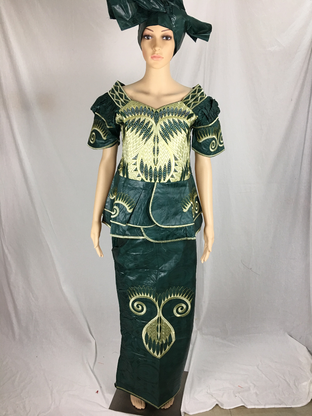 The Lady Dress Dress Fashion woman 100 African dashiki Bazin riche area two parts of traditional