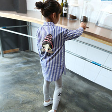 Spring 2018 girls blouses and shirts leisure baby girl shirt fashion cartoon blouses for girls toddler shirts strip kids outfits