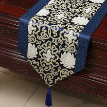 Damask table cloth Chinese rural wealth auspicious porcelain bed   Tang style classical  runner tarpaulin fabric blue  runner