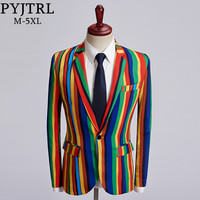 PYJTRL New Mens Colorful Stripe Print Blazer Design Plus Size Stylish Casual Male Slim Fit Suit Jacket Singer Prom Coat Outfit