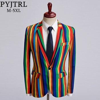 PYJTRL nuevo Mens raya colorida blazer estampado diseño de talla grande con estilo Casual Hombre Chaqueta de traje de corte Slim de cantante de abrigo traje